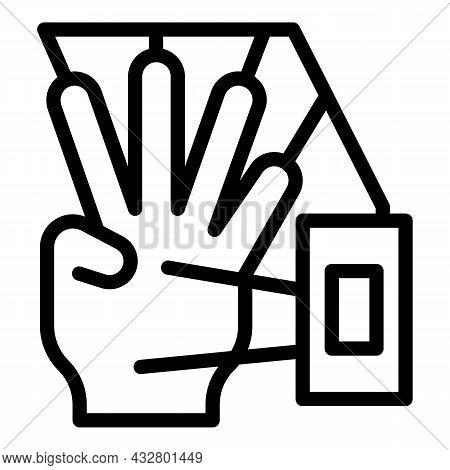 Hand Identification Icon Outline Vector. Scan Fingerprint. Biometric Verification