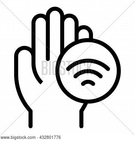 Palm Authentication Icon Outline Vector. Biometric Recognition. Handprint Verification
