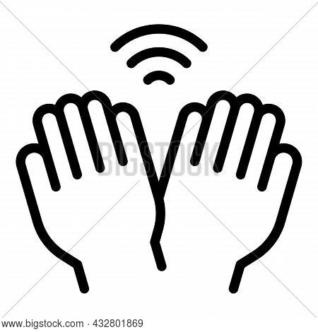Palm Password Icon Outline Vector. Biometric Recognition. Scan Hand