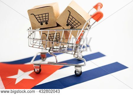 Box With Shopping Cart Logo And Cuba Flag, Import Export Shopping Online Or Ecommerce Finance Delive