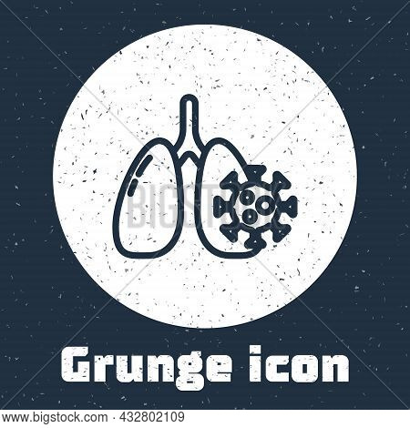 Grunge Line Virus Cells In Lung Icon Isolated On Grey Background. Infected Lungs. Coronavirus, Covid