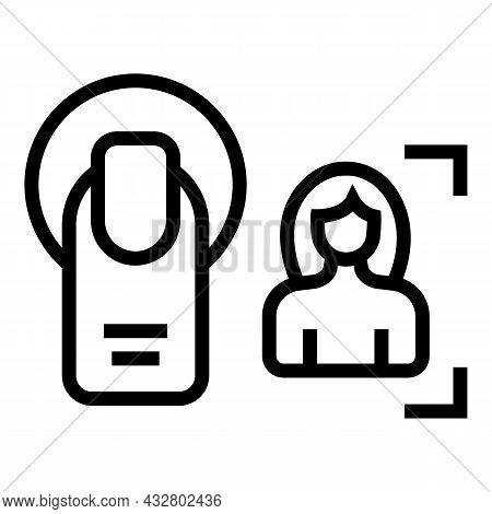 Fingerprint Identification Icon Outline Vector. Biometric Print. Finger Access