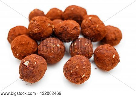 Chocolate Homemade Candy Truffles Isolated On White Background. Homemade Cooking Background