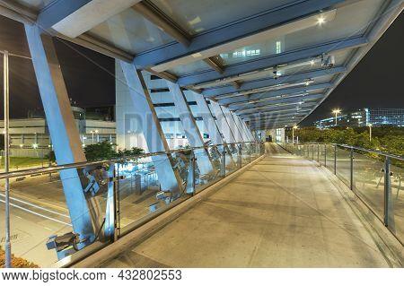 Empty Modern Pedestrian Walkway In Midtown At Night