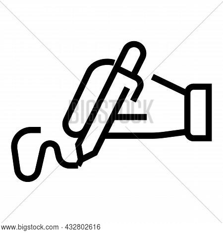 Handwriting Access Icon Outline Vector. Scan Signature. Biometric Recognition