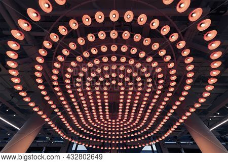 Interior Design Of Ceiling Of Modern  Architecture. Building Abstract Background