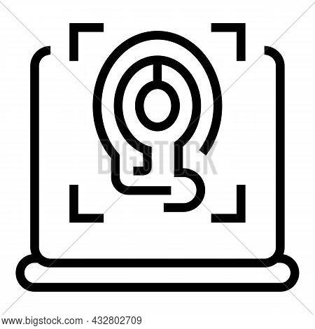 Thumb Identification Icon Outline Vector. Biometric Fingerprint. Scanner Id