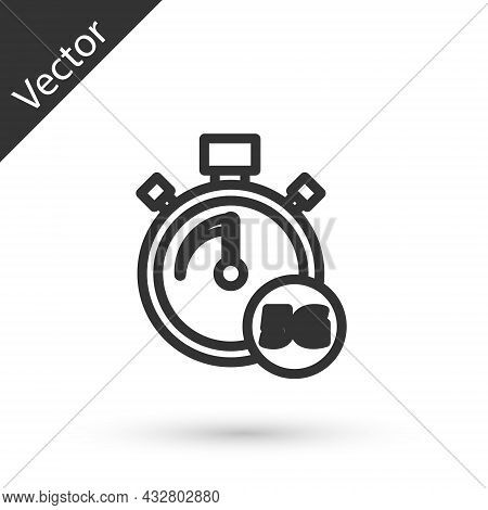 Grey Line Digital Speed Meter Concept With 5g Icon Isolated On White Background. Global Network High
