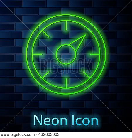 Glowing Neon Line Digital Speed Meter Concept With 5g Icon Isolated On Brick Wall Background. Global