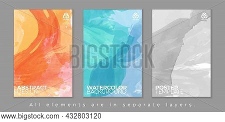 Three Abstract Watercolor Poster Backgrounds With Shadows And Place For Your Text. Vector Illustrati