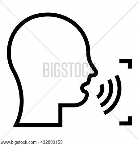Speech Scanning Icon Outline Vector. Voice Recognition. Audio Command