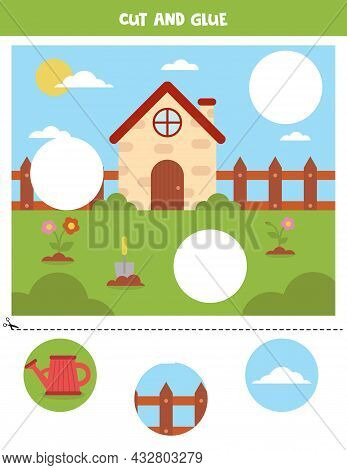 Cut And Glue Parts Of Picture. Spring Picture. Cutting Practice For Preschoolers.