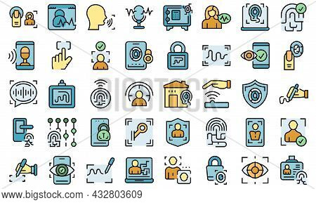 Handwriting Identification Icons Set Outline Vector. Access Approve. Biometric Authentication