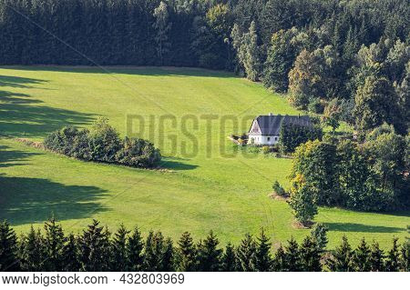 Meadow Near The Forest With A Country Cottage - Czech Republic, Europe