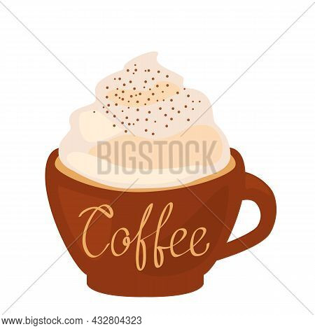 Freehand Drawing. Latte Cup With Handwritten Inscription Coffee. Vector Illustration Isolated On Whi