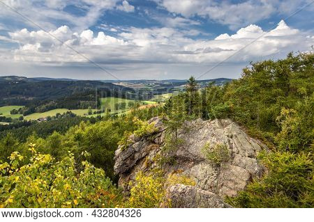 Rocky View Point Over Beautiful Summer Landscape Under Blue Sky With White Clouds. Czech Republic, E