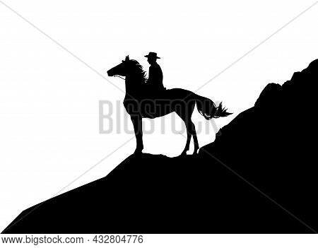 Wild West Mountain Landscape Scene - Vector Silhouette Design With Cowboy And Horse Standing On Clif