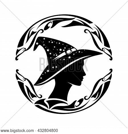 Beautiful Fortune Teller Wearing Witch Hat With Stars - Profile Sorceress Head Black And White Vecto