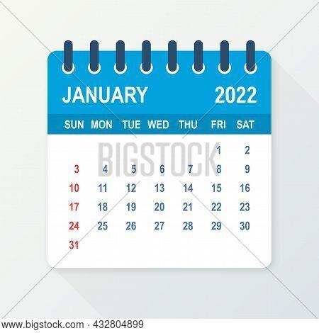 January 2022 Calendar Leaf. Calendar 2022 In Flat Style. Vector Illustration.