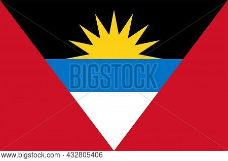 National Antigua And Barbuda Flag, Official Colors And Proportion Correctly. National Antigua And Ba