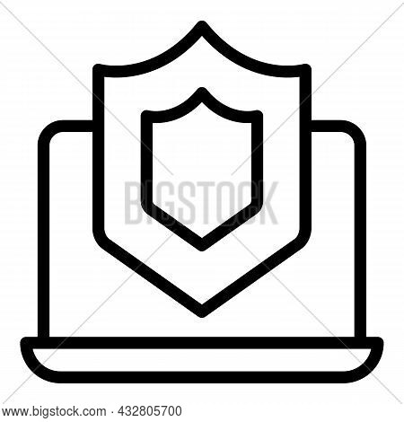 Computer Defence Icon Outline Vector. Safe Shielda. Safety Guard