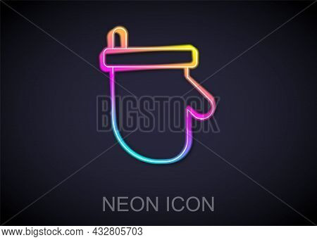 Glowing Neon Line Sauna Mittens Icon Isolated On Black Background. Mitten For Spa. Vector