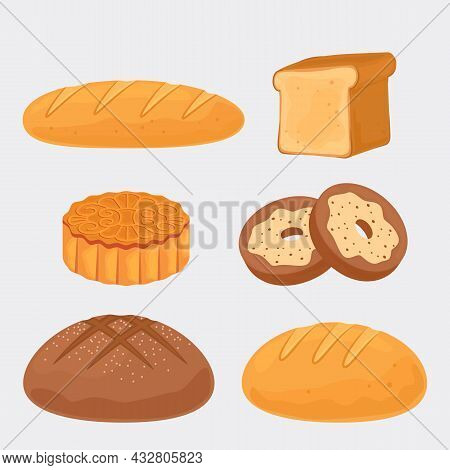 A Set Of Different Breads. Icons Of Rye, Whole Grain, Baguette, Toast Bread, Biscuits, Donuts, Ciaba