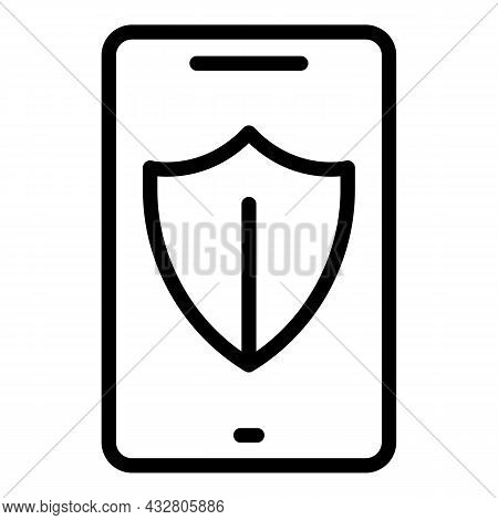 Protected Phone Icon Outline Vector. Shield Protection. Cellphone Privacy