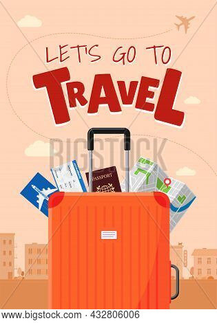 Go Travel Advertising Vacation Travelling Poster Concept. Suitcase Luggage With Map Flight Ticket Bo