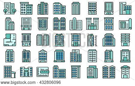 Multistory Building Icons Set Outline Vector. Architecture Interior. House Design