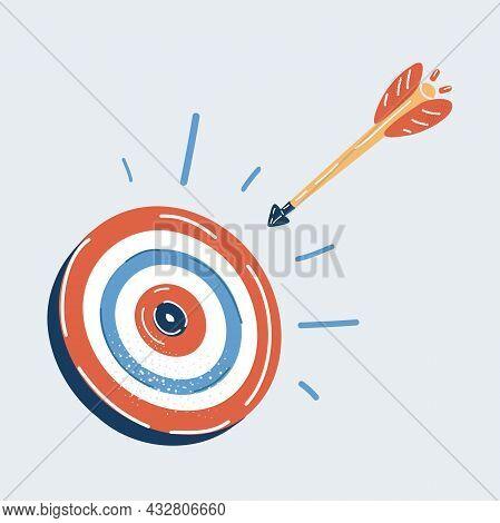 Vector Illustration Of Arrow Flies In Direction Of Aim