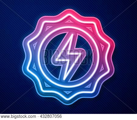 Glowing Neon Line Lightning Bolt Icon Isolated On Blue Background. Flash Sign. Charge Flash Icon. Th