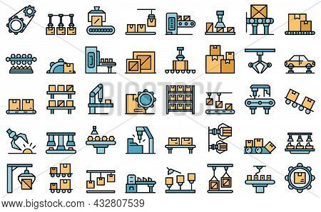 Serial Production Icons Set Outline Vector. Industrial Batch. Mass Machinery