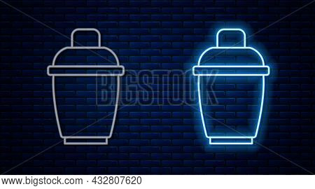 Glowing Neon Line Cocktail Shaker Icon Isolated On Brick Wall Background. Vector