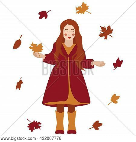 Vector Image Of A Little Red-haired Girl With A Red Coat With Autumn Leaves