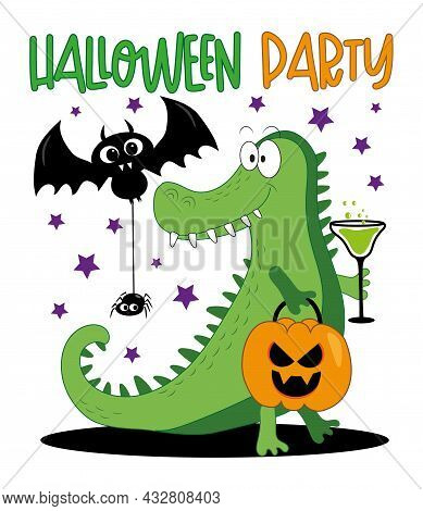 Halloween Party - Happy Bat , Spider And Cute Alligator With Pumpkin And Elixir. Good For Invitation