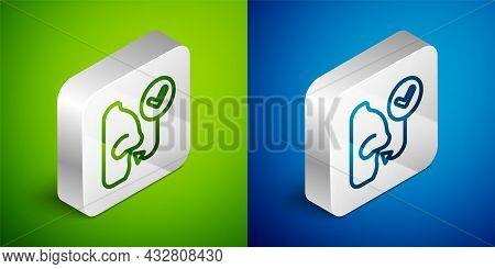 Isometric Line Healthy Breathing Icon Isolated On Green And Blue Background. Breathing Nose. Silver