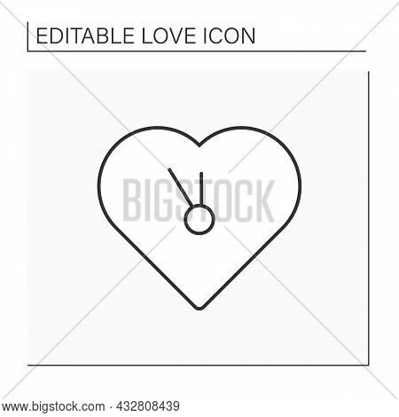 Time For Love Line Icon. Relationships. Time For Being Together With Beloved Person. Heart Shaped Cl