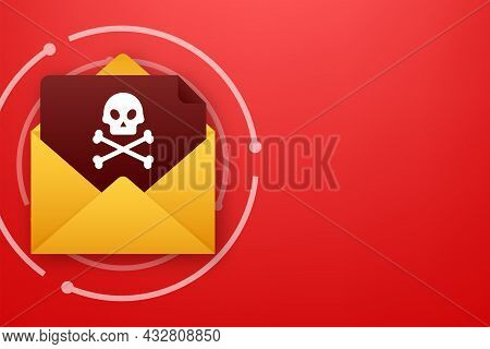 Red Email Virus. Computer Screen. Virus, Piracy, Hacking And Security, Protection. Vector Stock Illu