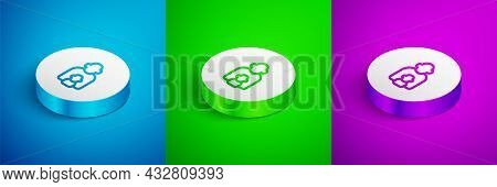 Isometric Line Taking Care Of Children Icon Isolated On Blue, Green And Purple Background. White Cir