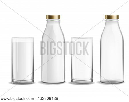 Bottle And Glass Milk. Milky Realistic Bottles Glasses Empty And Full Dairy Beverage Product. Cup Wi