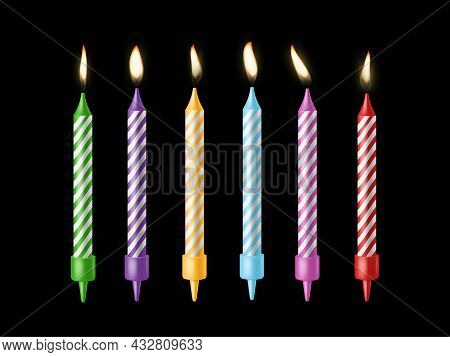 Holiday Candles. Burning Candle Different Colors With Flickering Fire, Holiday Candlelight, Birthday