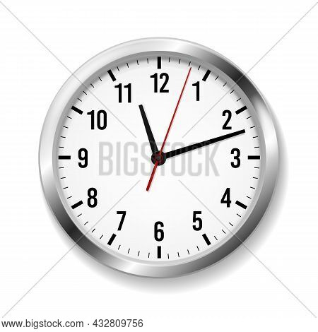 Office Realistic Clock. Wall Round Watches With Time Arrows And Clock Face. Modern Silver Metal Clas