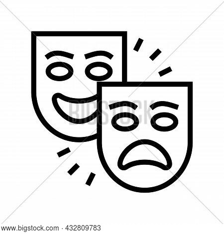 Theater Tragedy And Comedy Line Icon Vector. Theater Tragedy And Comedy Sign. Isolated Contour Symbo