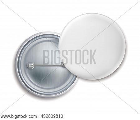 Pin Badges. Round Metal Button Badge Front And Back View, Blank White Metallic Emblem, Empty Brooch