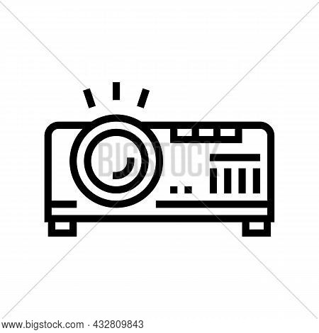 Projector Electronic Device Cinema Line Icon Vector. Projector Electronic Device Cinema Sign. Isolat