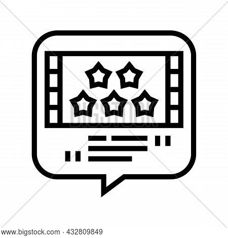 Reviews Movie Line Icon Vector. Reviews Movie Sign. Isolated Contour Symbol Black Illustration