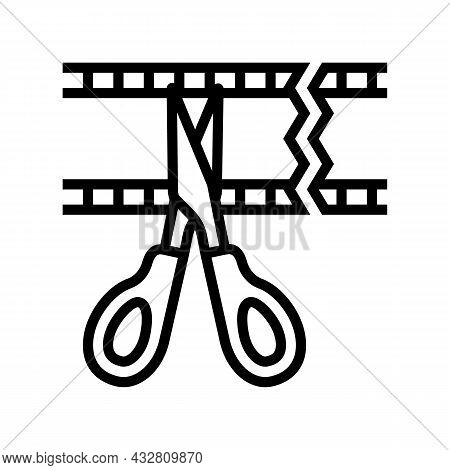 Cropping Video Line Icon Vector. Cropping Video Sign. Isolated Contour Symbol Black Illustration