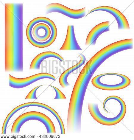 Rainbow Realistic. Arch Joyful Summer Spring Rainbow Lights, Rain And Sun Effect. Curved And Straigh