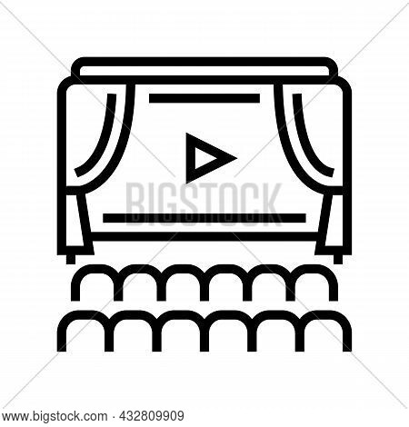 Cinema Display And Seats Line Icon Vector. Cinema Display And Seats Sign. Isolated Contour Symbol Bl